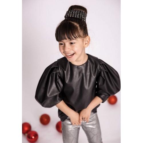 Melin rose μπλούζα δερματίνη MRW1-0144 μαύρη