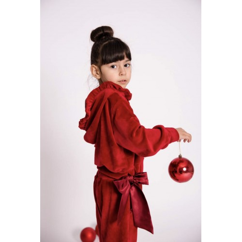 Melin rose σετ φόρμα βελούδινη MRW21-618 κόκκινο